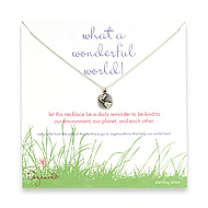 sterling silver what a wonderful world necklace with earth charm-18 inch