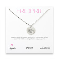 free spirit sterling silver lotus necklace - 32 inches