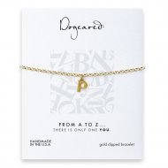 open p bracelet, gold dipped
