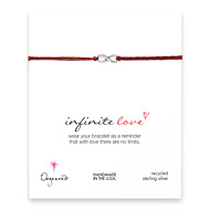 small infinite love bracelet on red irish linen, sterling silver