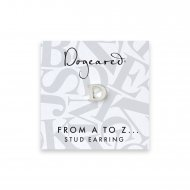 open d earring, sterling silver