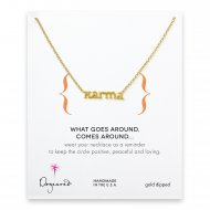 karma word necklace, gold dipped