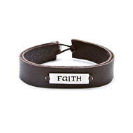 faith sign sterling silver bracelet on chocolate leather