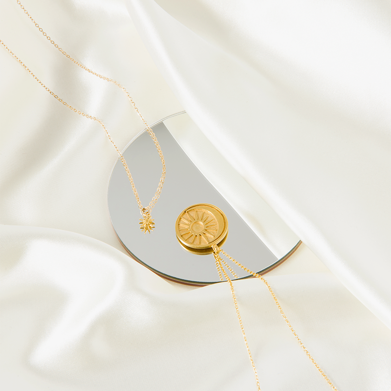 sun moon medallion necklace 14k gold dipped