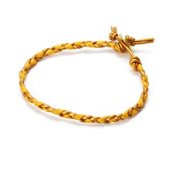 friendship honey leather and burnt orange silk bracelet