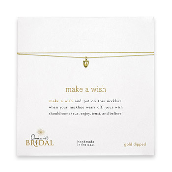 make a wish bridal necklace with gold dipped baby heart on gold