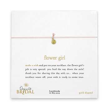 flower girl make a wish bridal necklace with gold dipped small daisy on pink